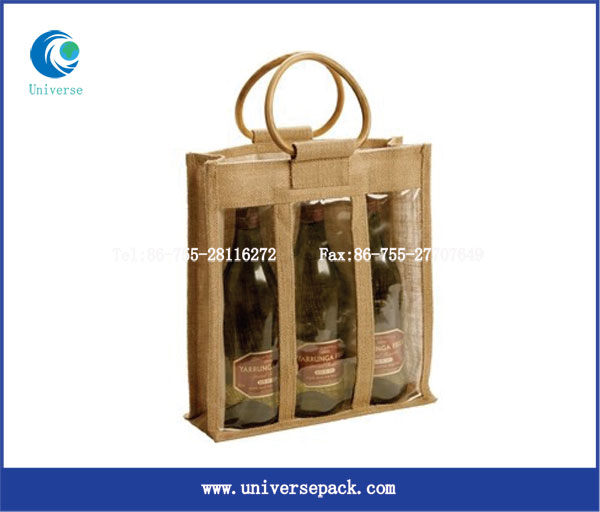 portable 3 bottle divided wine tote bag with wood handle and PVC window