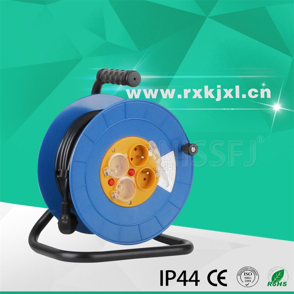 French empty plastic Cable Reel with 4 outlet sockets waterproof cover 16A 220V 10m 20m 50m electric cable reel drum