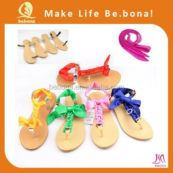 Gender and PU women flip flops gold with interchangeable laces
