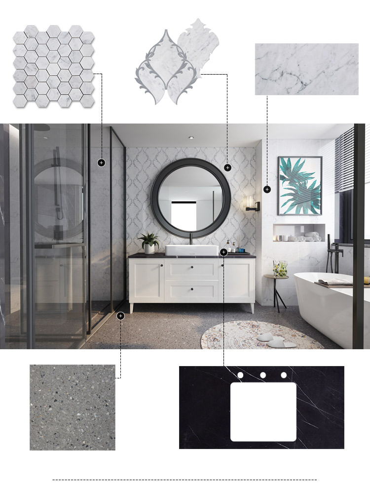 Century Mosaic Marble Mosaic Tile Bathroom Custom Interior Design