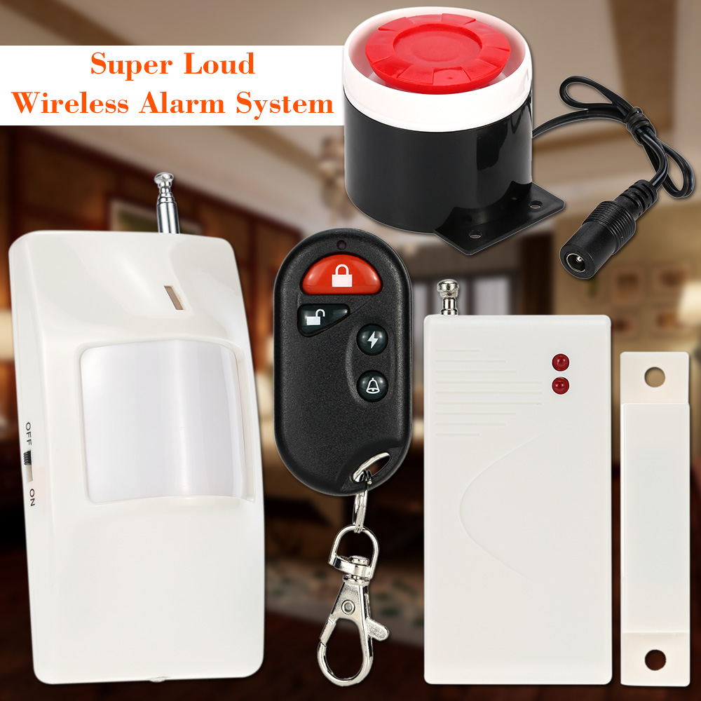 Wireless remote control home security alarm system with door window magnetic Sensor and 9V battery Infrared IR PIR Motion Sensor