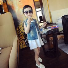 Spring and summer children's clothing vest jacket New Island Wind gem denim vest