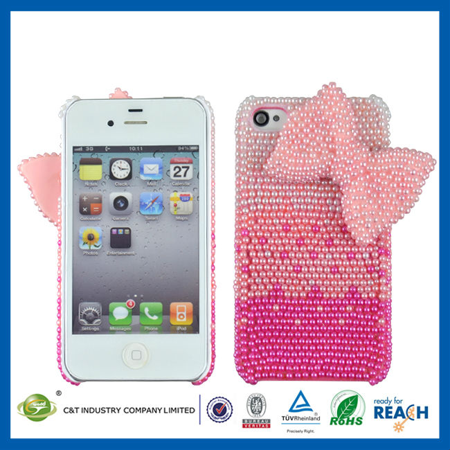 C&T Fancy 3d effect bowknot bling diamond crystal back cover case for iphone 4
