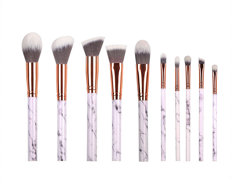 professional 10pcs beauty tool marble makeup brush set for face