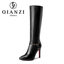 C040 High quality rivet deco design black genuine leather knee boots women heels
