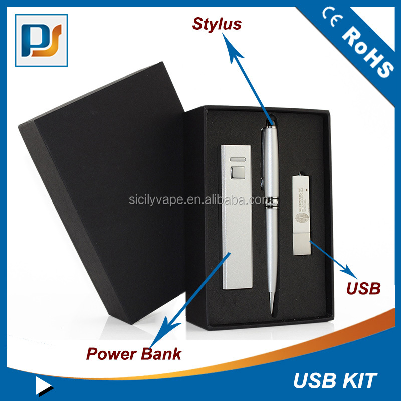 Arabic maket travel kits gift set computer accessory in box including the power bank stylus and USB flash