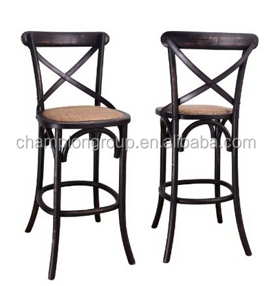 Elm Wood Rattan Antique Barstool Dining Chair Cross Back