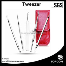 Blackhead Tweezer - Professional Curved Steel Tip Surgical Comedone & Splinter blackhead extractor tool set