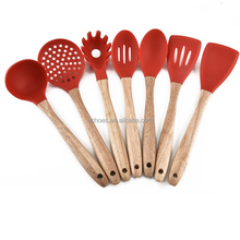 FDA silicone kitchenware cooking tools with acacia beech wood handle