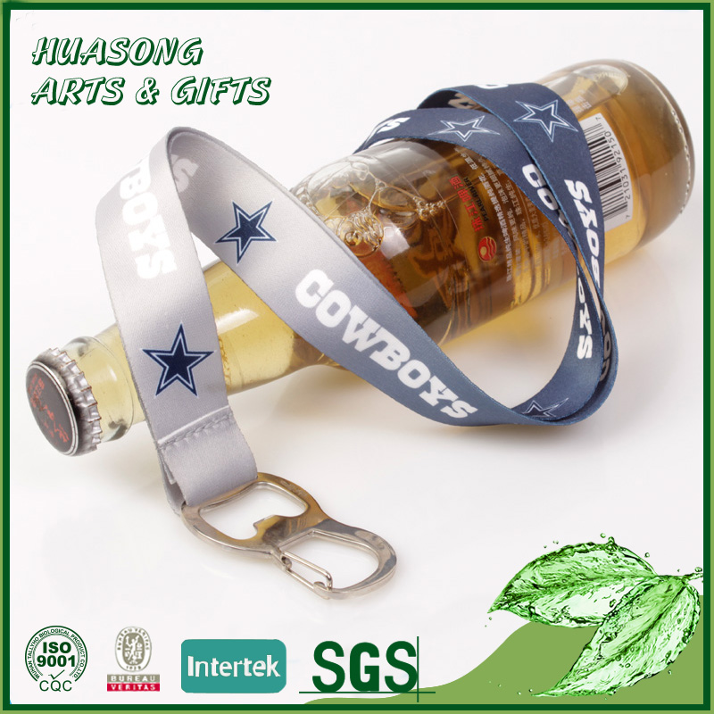 Heat transfer printing lanyard nfl with bottle opener