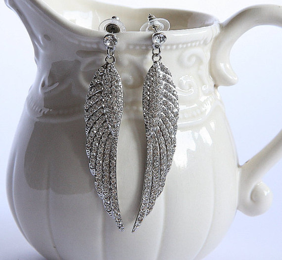 Hot Sale Fashion Heavy Bridal Feather Earrings Crystal Bridal Angel Wing Earrings