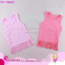 Little girl model top 100 baby girl t-shirt toddler kids child Cotton Sleeveless Casual Tassel fringe Vest Tops Shirt multicolor