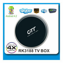 Hottest stock 2gb ram 8gb rom rk3188 quad core 1.6ghz android 4.2 quad core mini pc smart tv box with BT rj45 slot