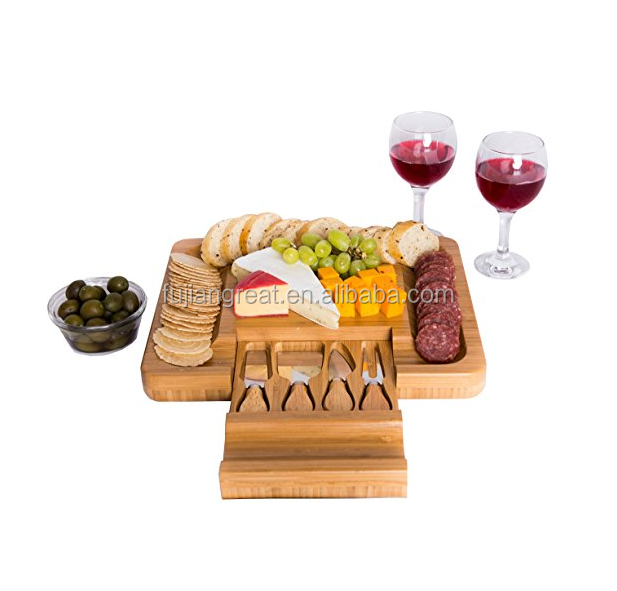 Bamboo Cheese Board with Cutlery Knife Set