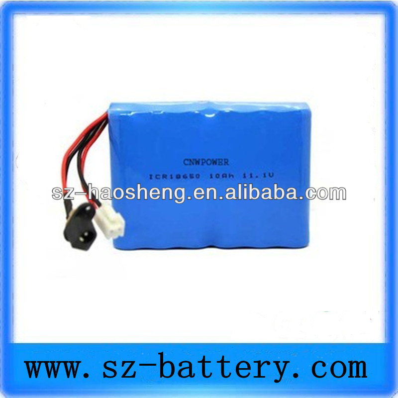 China hot sale li-ion 18650 11.1v Battery Pack power tools 10AH