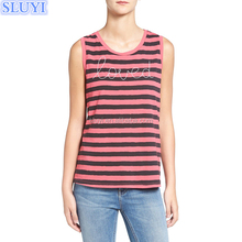 2017 trendy custom blank crop top plain loved letter embroidered kurta tops wholesale pink vertical stripe muscle tank top