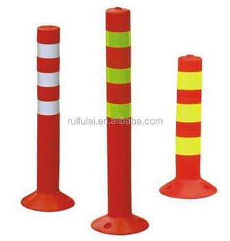 Road safety reflective plastic flexible traffic bollard