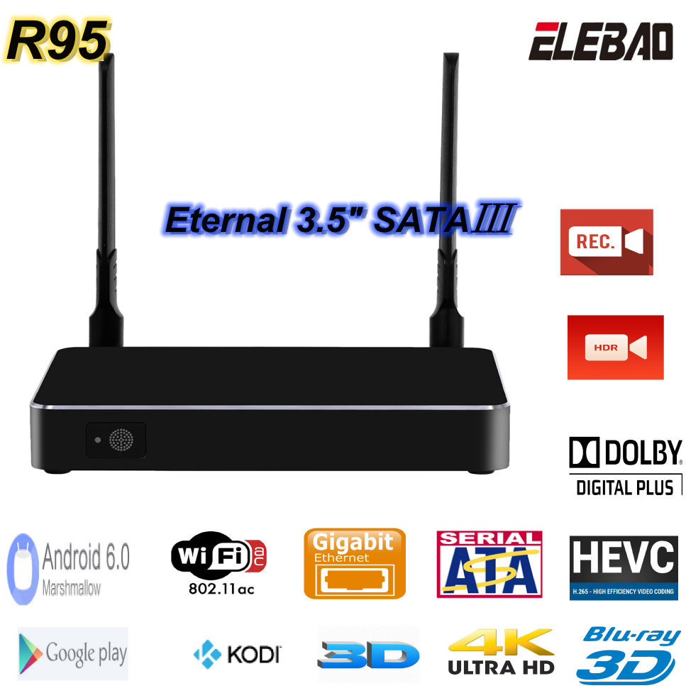 OTA update online Premium ELEBAO R95 Android TV Box Kodi 16.0 IPTV box imprex 2.0 dual band WIFI ott tv box manufacturer