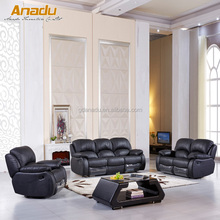 China living room furniture of manual/ electric recliner PU/Real leather sofa