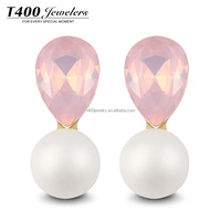 T400 Christmas Gift Artificial Pearl Earring Alloy Jewelry 2414