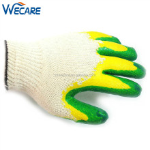 String Knit Cotton Lined Green Yellow Double Coating Rubber Palm Latex Dipped Gloves