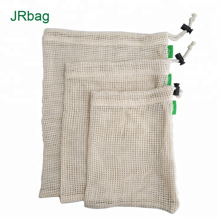 Reusable Ecology Biodegradable Mesh Bags Made In 100% Cotton Mesh Pouch-A Set With 3pcs