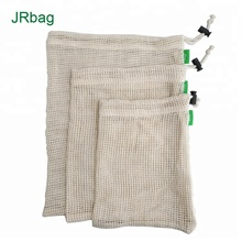 Reusable Ecology Biodegradable Mesh <strong>Bags</strong> Made In 100% Cotton Mesh Pouch-A Set With 3pcs