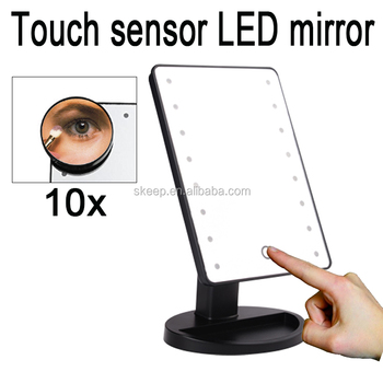 new model Led light make up mirror/Led table mirror with touch sensor control switch and 10x magnifying mirror suction up