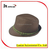 2015 new fashion wholesale mens brown straw fedora hat with coloured aztec band