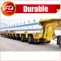 360 degrees dual-rotation elevating fan blade carrying semi trailer for heavy duty construction transportation