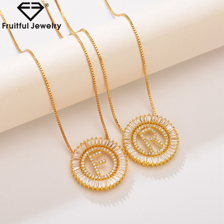 Fashion Simple Wholesale Necklace with Plating Letter Pendant R Gold Diamond Letter Pendant Necklace