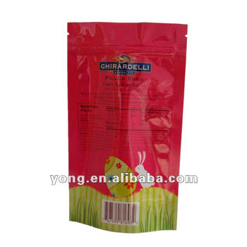 Plastic packaging stand up pouch