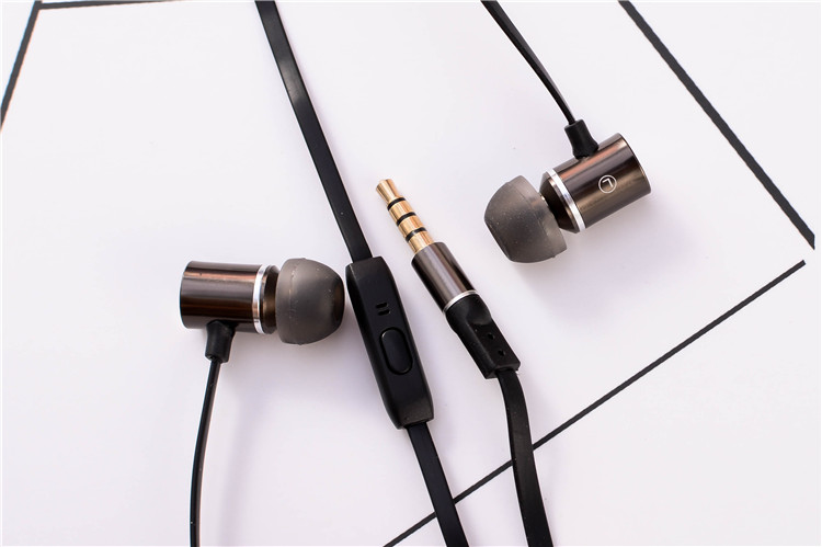 Metal Stereo Earphone for wireless Devices,with Microphone headset