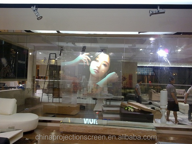 On sale! high quality rear projection screen fabric 150 inch grey projector screen for window show/ 3D hologram display