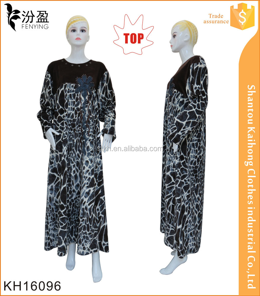 new design long sleeve wholesale dubai abaya animal print islamic clothing
