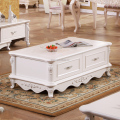 Modern Ivory White Wooden French Baroque Style Hand Carved coffee Table