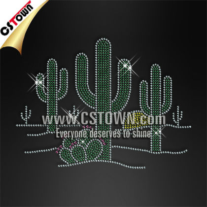 Green cactus clothes rhinestone hot iron transfers