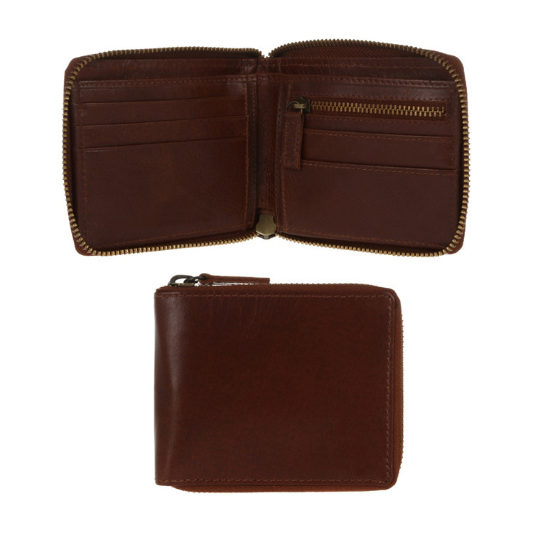 Italian style tan 'Flint' fine natural leather zip-round wallet with coin pocket leather travel wallet
