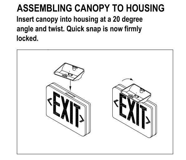 ET-100 UL approved 2 watt emergency led exit sign
