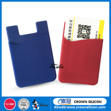 Free Sample ! 3M adhesive stickers silicone phone card holder,silicone smart phone pocket