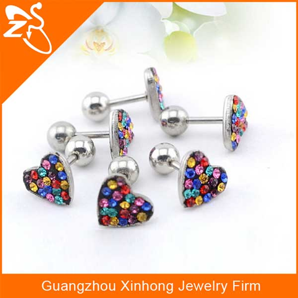 unique colorful crystal heart ear cartilage tragus ear piercing jewelry