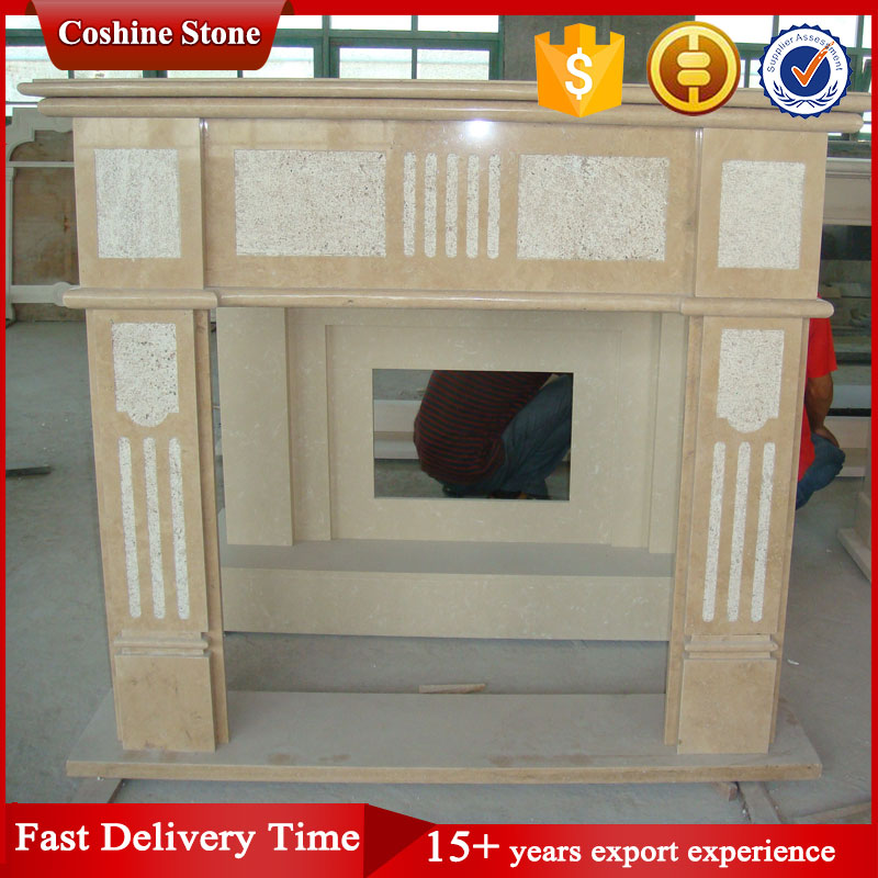 Indoor Used Artifical Fireplace Mantel, Beige Stone Fireplace