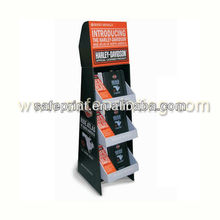 harley three tiers vertical overlap floor stand book shelf corrugated cardboard plate literature display rack
