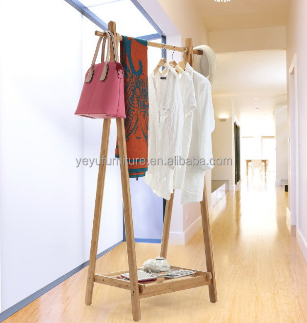 Modern Design Bamboo Bedroom Living Room Coat Rack Display Stands Scarves Hats Bags Clothes Shelf Fold hanger Multi-function