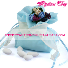 Blue Color Wedding Candy Gift Bags with Flower Bouquets Pouch Favor Bags Italian Style Wedding Favors