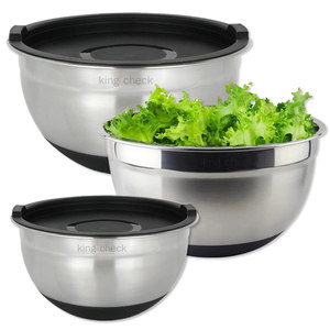 New arrival personailized salad bowl with plastic lid silicone bottom mixing bowl, mixing bowl set