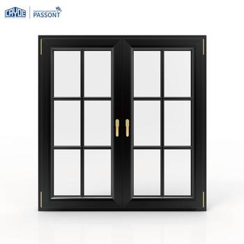 Modern house aluminum casement iron glass window grill design