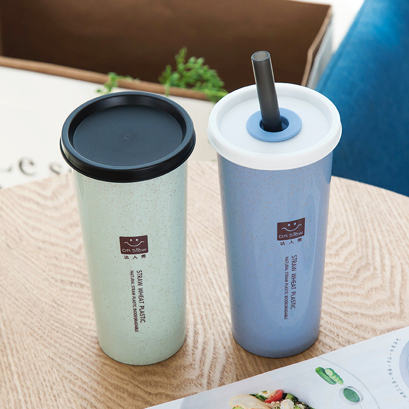 New natural wheat travel tumbler cup double layer cup with straw