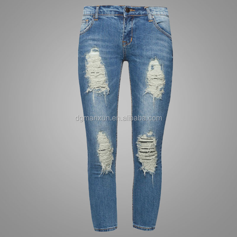 New arrival fashion womens high waisted distress skinny jeans