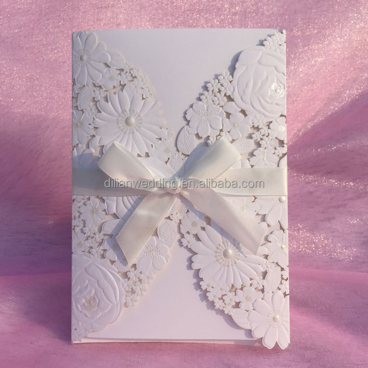 Luxury ribbon bow decorated white flower greeting card